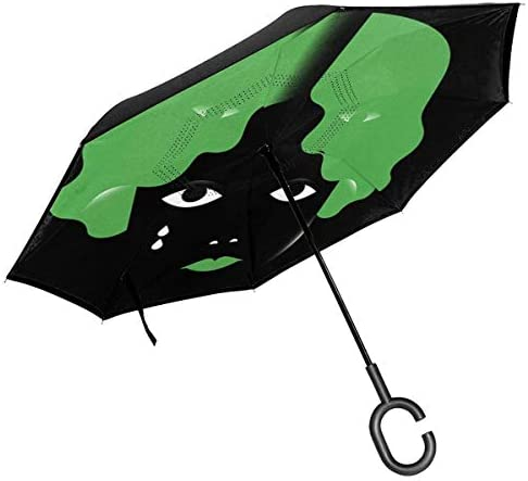 涙の少女 ユニセックス二重層防水ストレート傘車逆折りたたみ傘C形ハンドル付き