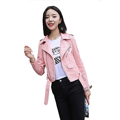 Jacket Pelle Cappotto Inverno Motociclista Donna Autunno Pink Zipper Moto Abbigliamento q5Xxd