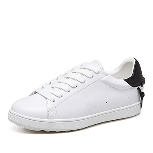L@YC Frauen flache Schuhe Lace Schuhe Casual Kleine Moving White Frauen Schuhe-Schwarz Black