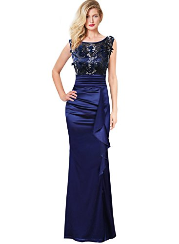 VFSHOW Womens Formal Ruched Ruffles Embroidered Evening Wedding Maxi Dress 290 BLU M - Ruched Ball