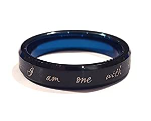"Star Wars Inspired ""The Force is With Me"" Tungsten Carbide Ring, Black and Blue with Gold inscription (6)"