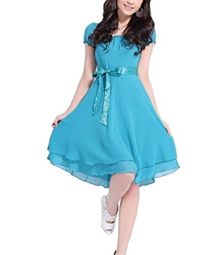 UPC 712201959840, Oulifa Women's Vintage Retro Chiffon Knee-length Dress Large Sky Blue