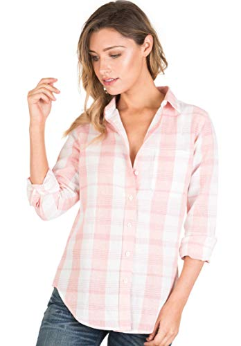 (CAMIXA Women Plaid Shirt Linen Button Down Buffalo Check Long Sleeve Ladies Top L Pink/White)