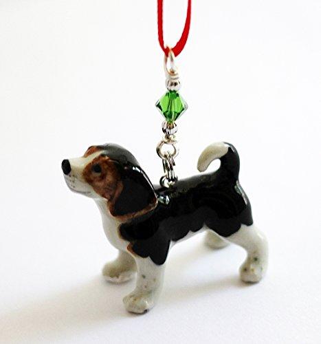 Small Beagle Dog Christmas Ornament Tree Decor Porcelain Animal (Porcelain Charm)