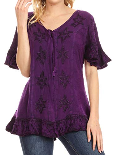 Sakkas 1663 - Sayle Long Star Embroidered Blouse Shirt Top with Button Front and Ruffles - Purple - 1X/2X ()