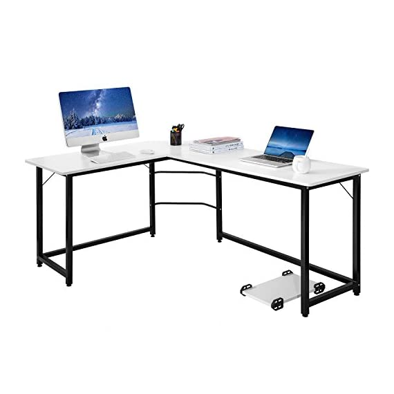 Modern Luxe L-Shaped Desk Corner Computer PC Table Workstation Home Office Desk (White) - Attention:This computer table has a white desktop, and the color of the legs is white or black. Warehouse will be delivered at random. L-shape office desk provides a corner wedge for more space allows for easy multi-tasking The large desk top surface provides plenty of room for your monitor or laptop, as well as papers and other essential office supplies, and the sturdy frame for secure and stable - writing-desks, living-room-furniture, living-room - 41N4juwlZ2L. SS570  -