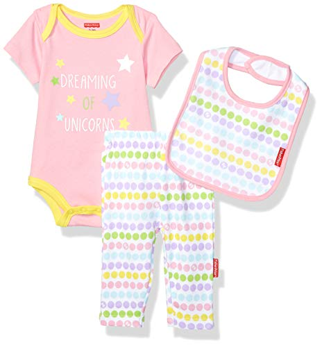 Fisher-Price Baby 3 Piece Short-Sleeve Bodysuit, Pant and Bib Layette Set, Pink/White, 3 Months