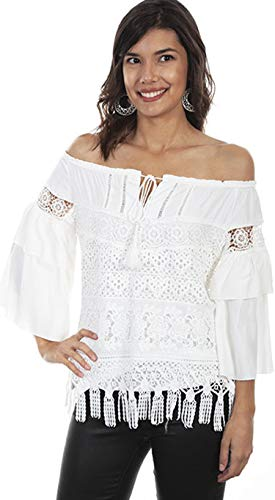 Scully Women's HC574 Tiered Lace Blouse, Off White - X-Large