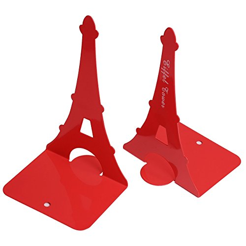 - Bookends Pair Nonskid Heavy Metal Durable Sturdy Strong Books Organizer Telephone Booth Bookshelf Decor Decorative Bedroom Library Office School Supplies Stationery Gift (Eiffel Tower Red)
