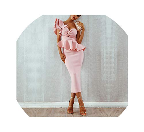 Genius-route-store 2019 Pink Sexy Celebrity Evening Party Dress