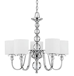 Quoizel DW5005C Downtown 26-Inch One Tier Chandelier With 5 Uplights with White Linen Glass Shade, Polished Chrome Finish