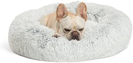Best Friends by Sheri Calming Shag Vegan Fur Donut Cuddler (23x23) – Small Round Donut Cat and Dog Cushion Bed, Warming and Cozy for Improved Sleep – Prime, Machine Washable - Small Pets Up to 25 lbs