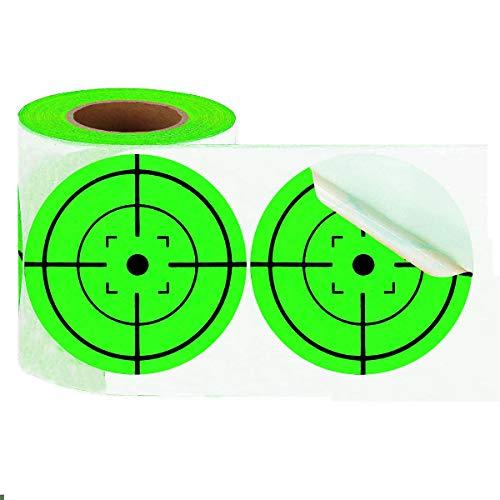 (Besttile Neon Green Self-Adhesive 3-Inch Bullseye Target Stickers for Shooting, 250 Targets)