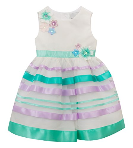 Rare Editions Little Girls' Ribbon Easter Special Occasion Dress, Ivory/Mint/Lilac, 4