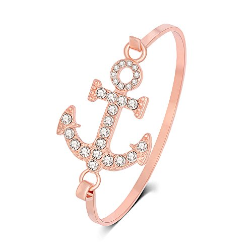 TUSHUO Copper 3 Colors Plating White Crystal Anchor Bracelet Sailor Bangle for Women (Rose Gold)