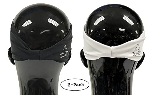Value 2-Pack, Mens Headband - Guys Sweatband & Sports Headbands Moisture Wicking Workout Sweatbands for Running, Crossfit, Skiing and bike helmet friendly - Value Pack - 1-Black & 1-White Sweatbands by Temple Tape (Image #3)