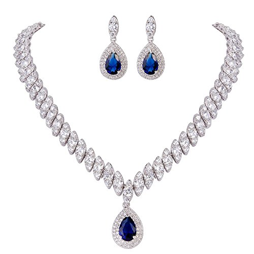 EVER FAITH Women's CZ Marquise-Shaped Leaf Teardrop Pendant Necklace Earrings Set Blue ()