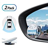Tovieya Blind Spot Mirror, 2 Inch - 2 Pack Convex Mirrors Frameless for Cars Jeep SUV Truck Van Rvs Round Rear View Mirror 360 Degree Adjustable HD Glass Stick
