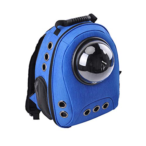 Expandable Pet Travel Carrier Backpack with Space Capsule Bubble, Canvas Handbag Kennel with Removable Reversible Fleece & Canvas Mat Multiple Air Holes for Cats Puppies Small Animals (dark blue)