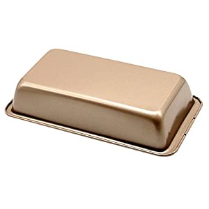"2-Piece Plataplus Rectangular Nonstick Large Bakeware Loaf Pan 9.5"" Gold"