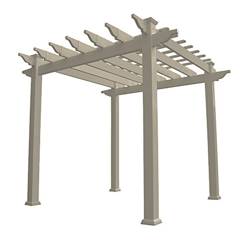 Vinyl Pergola Kits - Weatherables Khaki PVC Vinyl Royal Pergola | 88 Inches X 88 Inches X 94 Inches | YKPG-ROYAL