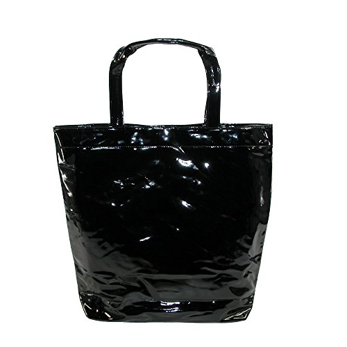 CTM Women's Patent Tote Bag, Black