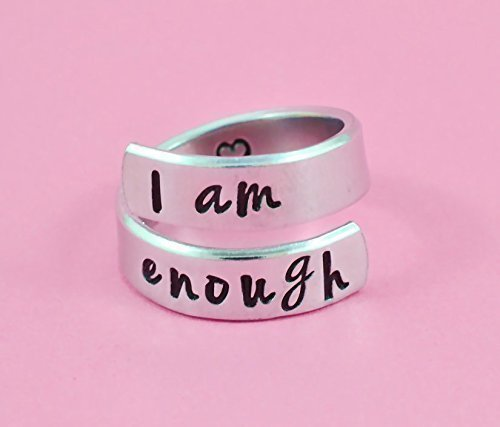 I am enough - Hand Stamped Aluminum Spiral Wrap Twist Ring, Inspirational Motivational Ring, I Am Strong, Be You, Friends BFF Sorority Sisters Besties Encouragement Gift, Personalized Graduation Gift