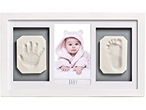 Lovely Baby Handprint & Footprint Photo Frame Kit - The Perfect Shower Gift for Boys and Girls, and A Forever Registry Memory, All in A Premium White Wood Frame for Keepsake Decoration, Wall and Desk