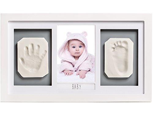 Lovely Baby Handprint & Footprint Picture Frame Kit -The Perfect Shower Gift for Boys and Girls, and A Forever Registry Memory, All in A Premium White Wood Frame for Keepsake Decoration, Wall and Desk