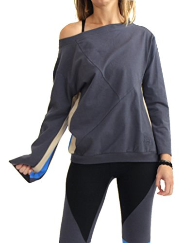 Prancing Leopard Womens Organic Cotton Sweatshirt CASABLANCA - Boatneck, Flared Trumpet Sleeves Yoga Top Shirt - L - Cloud - Casablanca Sleeve