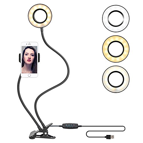 Clamp-on Gooseneck LED Selfie Ring Light with Cell Phone Stand for Live Stream Flexible Cellphone Clip Holder with Lazy Bracket Desk Lamp for Living Bedroom Office Kitchen Essential for YouTuber