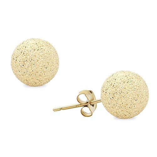 14K Yellow Gold StarDust Ball Stud Earrings 4, 5, 6, 7, 8, 9, 10 MM