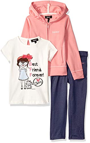 DKNY Girls' Toddler 3 Piece Best Friends T-Shirt, Hoodie Pant Set, Sunkist Coral, 2T -