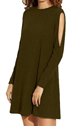 Mini Loose Out Long Armygreen Party Flared Sleeve Women's Dress Crewneck Cut Domple gR7q6