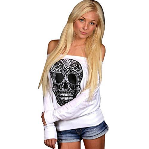 ClearanceWomensBlouses,KIKOY Loose Skull Printing Word Shoulder Long-sleeved T-shirt