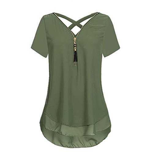 Logo T-shirt Cap Womens Sleeve - Women Loose Plus Size Short Sleeve Tank Top Cross Back Hem Layed Zipper V-Neck T Shirts Tops, S-2XL Army Green