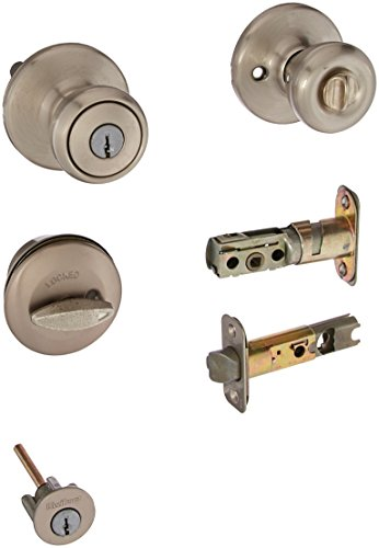 Kwikset 690T 15 K6 CP Tylo Entry Knob and Single Cylinder Deadbolt Combo Pack, Satin Nickel