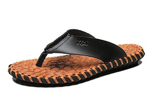 f1822f07de1 UBCA-TBA Mens Flip Flops Genuine Genuine Genuine Leather Slippers Handmade  Beach Sandals Shoes Parent B07DP25QVS 2796cc