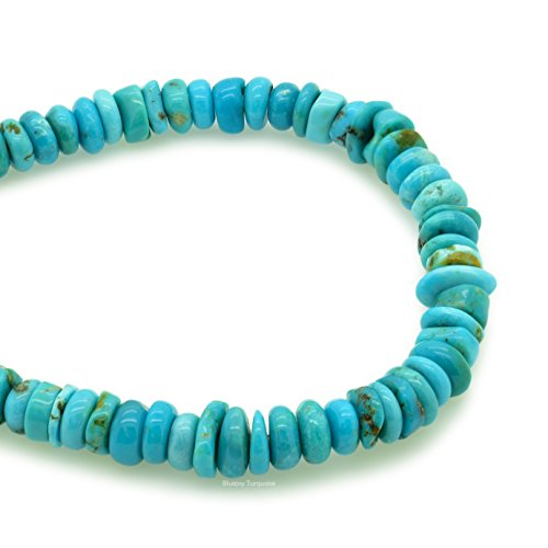 Bluejoy Genuine Natural American Turquoise 7mm Free-Form Disc Bead 16 inch Strand for Jewelry Making ()
