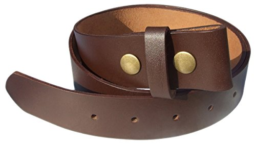 QHA Mens Snap On Belt Full Grain Cowhide Leather No Buckle Q52010 Brown...