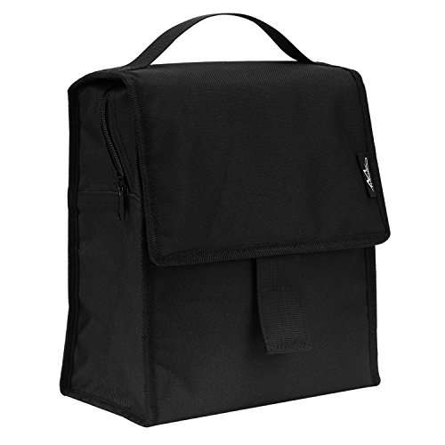 Insulated Lunch Bag, MoKo Reusable Outdoor Travel Picnic School Lunch Box Collapsible Tote Bag with Front Pocket, Zipper and Velcro Closure, Foldable & Multi-use for Men, Women and Kids - BLACK