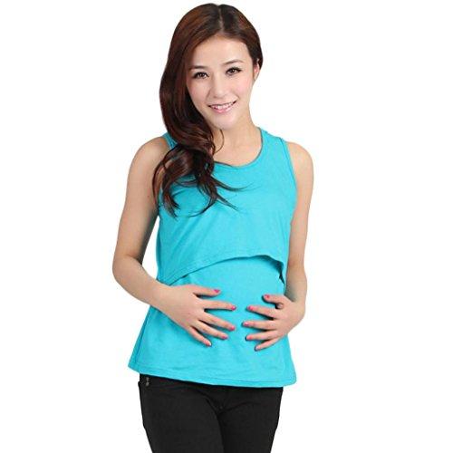 Tenworld Mother's Breastfeeding Clothing Maternity Nursing Vest Tank Top Shirt (Sky Blue) (French Maid Party)