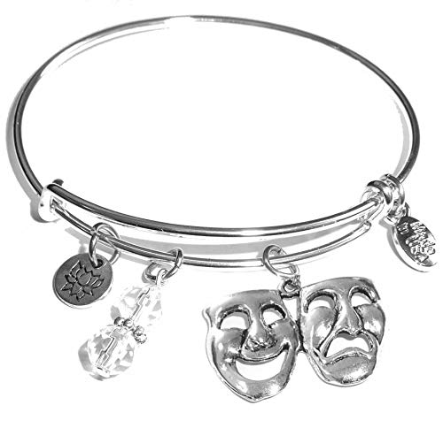 Hidden Hollow Beads Message Charm (84 Options) Expandable Wire Bangle Women's Bracelet, in The Popular Style, Comes in A Gift Box! (Comedy & Tragedy)]()