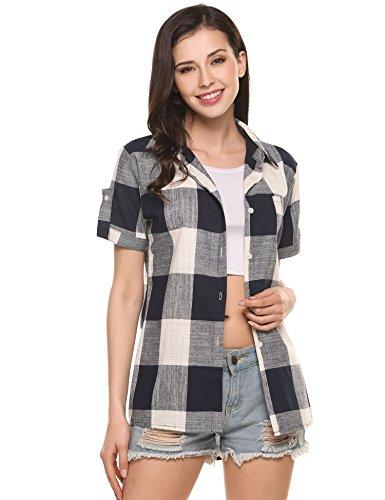 Beyove Women's Casual Roll Up Short Sleeve Loose Boyfriend Plaid Button Down Shirt