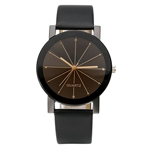 Top Plaza Simple Radioactive Rays Scale Mark Dial Black Leather Band Analog Quartz Wrist Watch