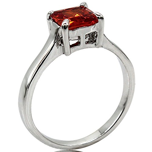 (Jude Jewelers Rhodium Plated Princess Cut Birthstone Solitaire Engagement Ring (Jul-Ruby, 7))