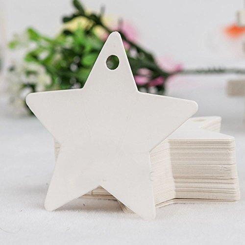 joyliveCY 50pcs Stern Blank Packpapier Geschenkanhänger Hochzeit Türschild Scallop Bevorzugung Gepäck mit Streichern Weiß