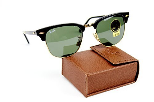 Ray-Ban RB2176 901 51mm Folding Clubmaster Black / Crystal Green - Ban Old School Sunglasses Ray