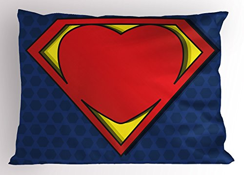 Superhero Pillow Sham by Ambesonne, My Super Man Shield Logo with Heart Figure Valantines Romance Print, Decorative Standard Queen Size Printed Pillowcase, 30 X 20 Inches, Night Blue Red Yellow (Valantines Gift)