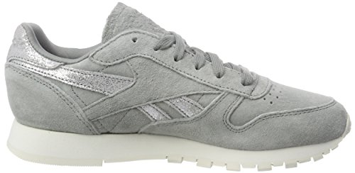 Leather Shimmer flint Reebok Gris matte Grey Classic chalk Baskets Silver B5qw5ga